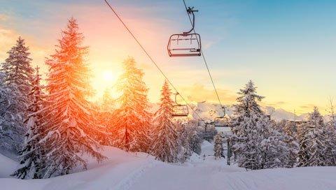 ski trip wintersport sunset